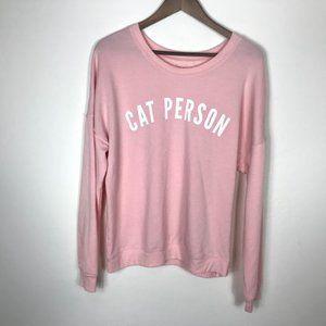 Zoe + Liv Cat Person Pink Sweater XL